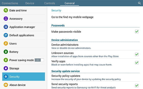 The security settings feature on an Android device.