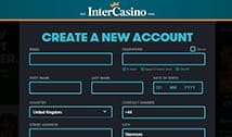 InterCasino registration form for new players