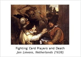 Fighting Card Players and Death - Painting by Jan Lievens, 1638
