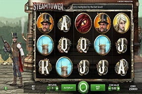 Steam Tower slot, available on Karamba