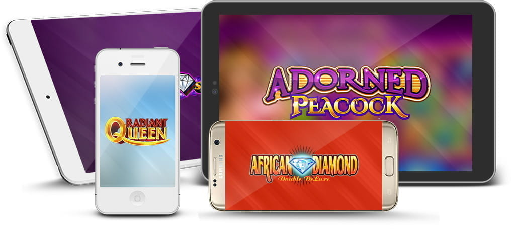 Konami casinos game logos on various mobile devices.