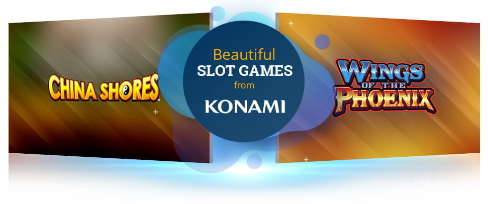 The Konami China Shores slot and Wings of the Phoenix slot logos.