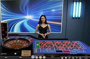 Ladbrokes Casino's Speed Roulette in action complete with a live dealer