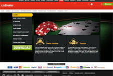 The Ladbrokes Poker homepage.