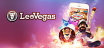 Slot games on an iPhone and the LeoVegas logo