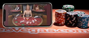 A live blackjack casino game at LeoVegas casino on a mobile device.