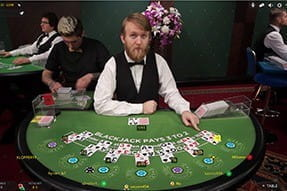 An image of a live blackjack game on mobile