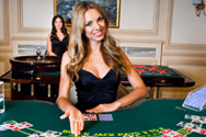 Image showing a smiling live casino dealer
