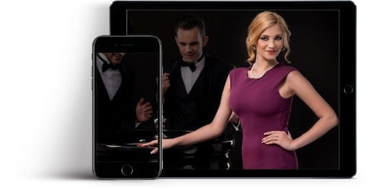 Image showing a mobile and tablet device with promotional images of live casino dealers.