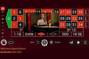In-game image of live roulette on mobile