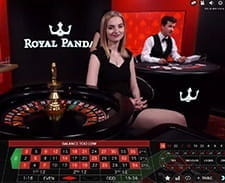 An image of a live roulette game at the casino.