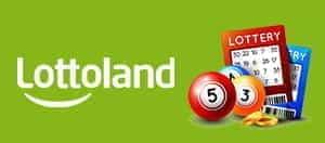Das Lottoland-Logo und die Lotteriescheine.