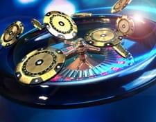 A spinning roulette wheel with golden chips for Mansion Casino and the Golden Hour promo.