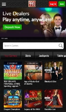 The Mansion Casino games selection for mobile users.