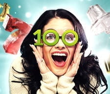 A woman with the number 100 over her eyes for the Mansion Casino Monthly Madness promo.