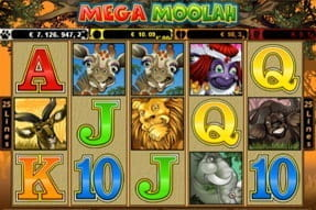 Image of the Mega Moolah jackpot slot on a mobile device.