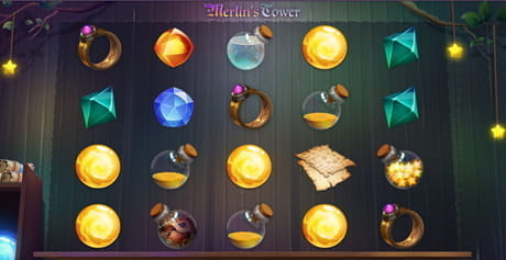 The rows and reels of the Merlin's Tower game from Mascot Gaming
