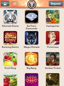 Mobile game selection at LeoVegas casino.
