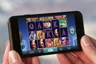 A casino game being played on a mobile phone.