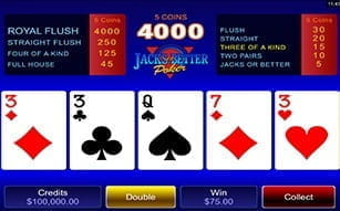 Jacks or Better video poker is amongst the mobile game selection on the Mr Green mobile app