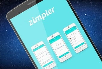 The Zimpler logo on a mobile phone.