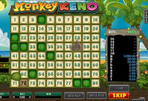 Preview image of the game Monkey Keno.