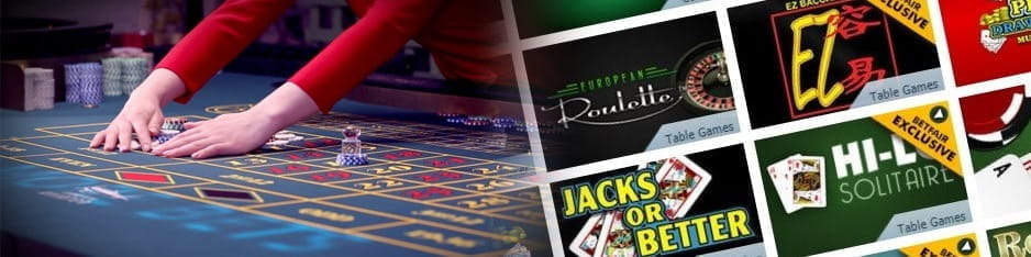 A woman rakes in the winning chips on a roulette table next to a collage of different casino game promotional images.