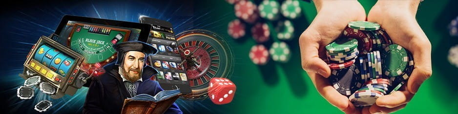 An image of a variety of casino games including slots, blackjack, roulette etc.