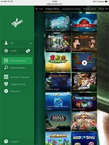 Game selection and available options on the Mr Green app