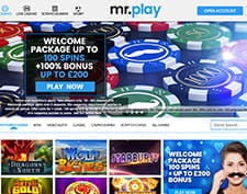 Welcome offer displayed on the front of mr.play website.