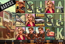 An in-progress online slot game Narcos at Fansbet casino.
