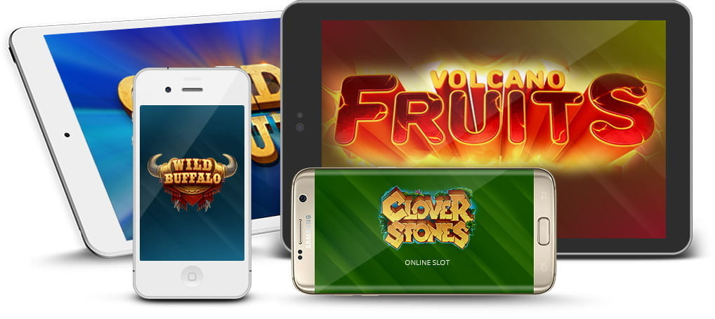 Netgame casino games being played on various mobile and tablet devices.
