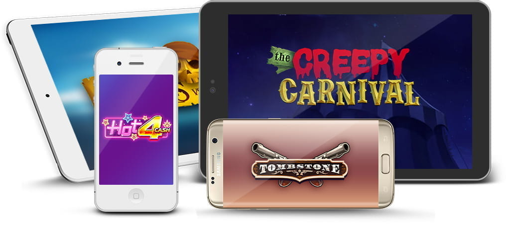 Various Nolimit City slot logos on mobile and tablet devices.