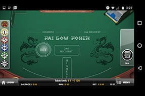 Image of mobile version of Pai Gow Poker