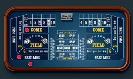 Une table de craps avec un pari pass, des cotes gratuites et des paris come placés.