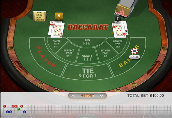 A winning hand in the Playtech Baccarat online casino game