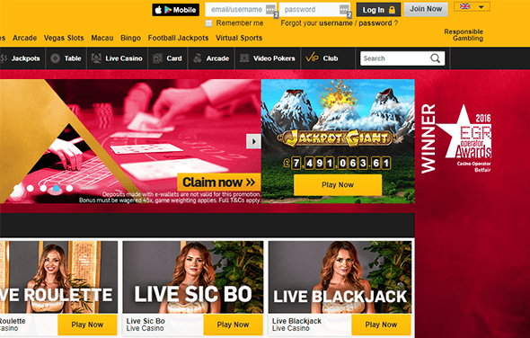 Betfair casino homepage: the first step to signing up