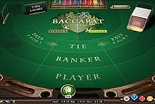The green table for a Baccarat game at Playzee casino