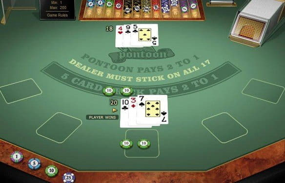 In-game view of Blackjack Pontoon showing the player winning with 20 against a dealer's 18.