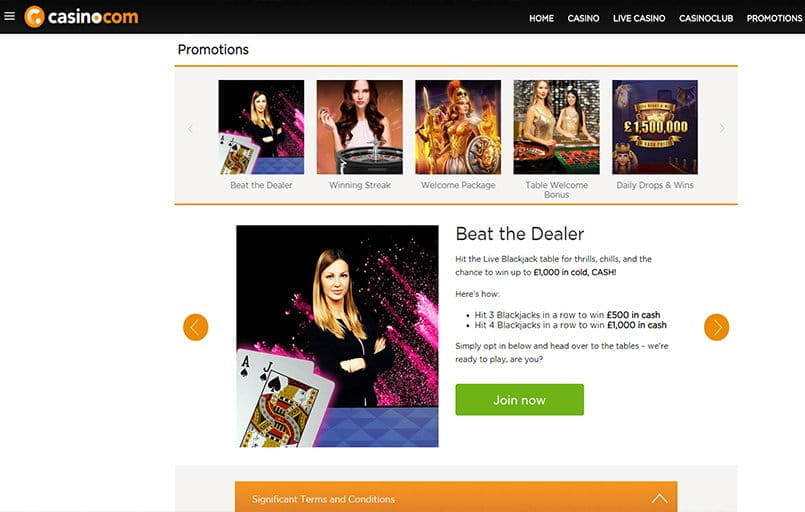 The Beat The Dealer promotion at Casino.com