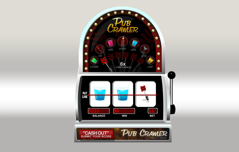 The Pub Crawler slot game in play.