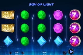 A view of the gem-filled reels of the Ray of Light slot game