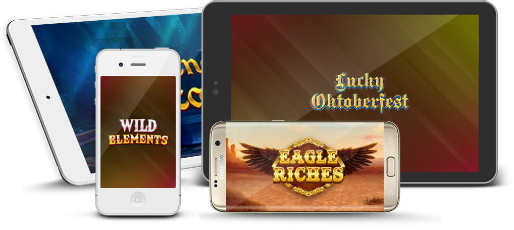 Mobiles and tablets showing logos from Red Tiger Gaming slots.