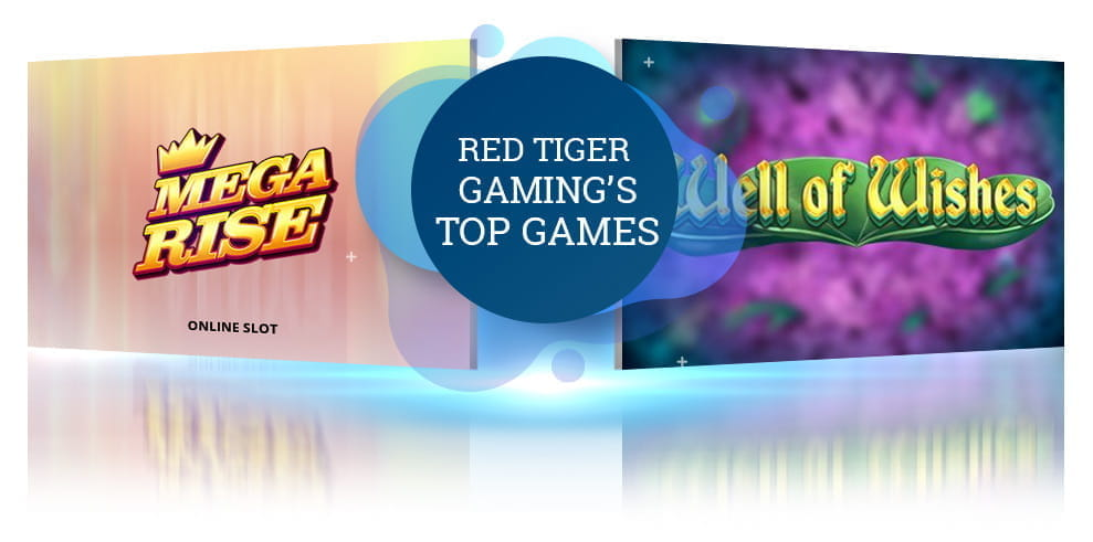 The Mega Rise and Well of Wishes slot logos from Red Tiger Gaming.
