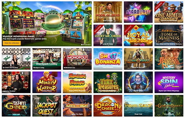 The games library at an online casino.