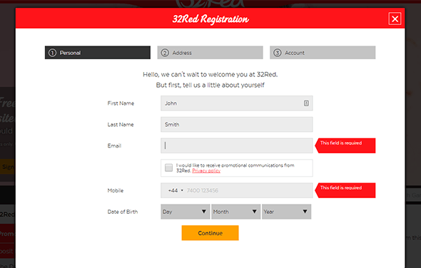 First step of registration - create a user profile
