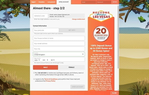 Second step of registration at LeoVegas casino