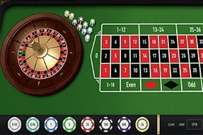 An in-game view of the slick and simple roulette game from Relax Gaming.