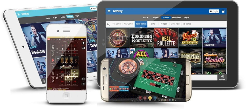 An image of various mobile devices showing roulette being played at the Betway casino.