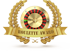"""An image of a roulette wheel in a golden wreath, with a banner reading """"Roulette Award"""""""